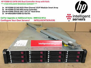 HP P2000 G3 24TB SAS Dual Controller Array with Rails AW592A
