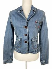 Levi's Jean jacket women's size medium buttons pink heart embroidery stretch
