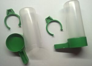 2 Plastic Bird Water/seed Feeder Food Clip For Aviary/cage