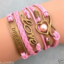 Girl Bracelet Infinity Dream Love Heart Pearl Leather Charm Plated Copper Gift