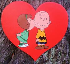 lawn stake yard art Valentine's  Day peanuts Charlie Brown red heart Peggy Jean