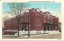 Municipal Auditorium in Burlington VT Postcard