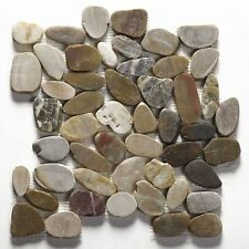 Cut down sample of multicolored flat riverstone pebble mosaic wall & floor tile
