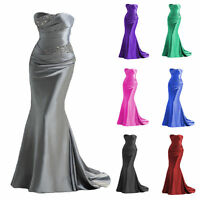 New Satin Prom Bridesmaid Formal Dressses Evening Wedding Gown Cheap Party Dress