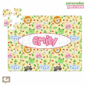 Personalised Cute Animals Jigsaw Puzzle Girls Kids Learning Gift School Birthday