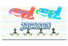 Personalised Coat Hanger Any Name Plane Design Printed Wall Hooks Kids Bedroom 1