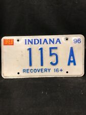 Used License Plate INDIANA 1996 RECOVERY 16+ low # 115 A