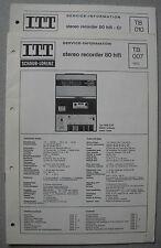 ITT/Schaub Lorenz Stereo Recorder 80 HiFi Cr Service Manual, TB007, TB010