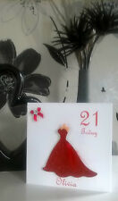 """Red Glitter Dress Birthday Card 6"""" Personalised Daughter Sister Prom Niece 18 21"""