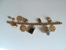 NICE LADIES VINTAGE ESTATE 14K GOLD CHARM BRACELET, 10 CHARMS, 75 GRAMS