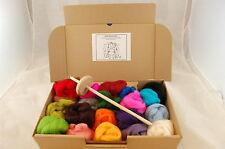 Hilado a mano Kit-Artesanal gota verticilo Eje + 20 Colores de Lana Merino
