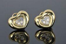 $6,500 Chopard 18K Yellow Gold Happy Floating Diamond Heart Clip On Earrings