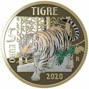 """ITALIA 2020 5€ PROOF ANIMALI IN ESTINZIONE  """"LA TIGRE""""  FOSFORESCENTE"""