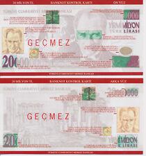 Türkei Turkey Banknot kontrol Kartı  20.000.000 Lira  /  20 Milllion Lira  (484