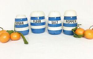 Vintage Blue/White Cornishware T.G. Green England FLOUR, SALT & PEPPER SUGAR Set