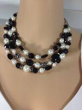 White House Black Market Black & White Beaded Necklace