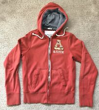 Mens Abercrombie & Fitch Sweatshirt Hoodie Red Full Zip Size L