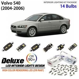 14 Bulbs Deluxe Interior LED Light Kit White Dome Light for 2004-2006 Volvo S40
