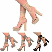 WOMENS LADIES PLATFORM BLOCK HIGH HEEL TIE LACE UP ANKLE STRAPPY PARTY SHOES 3-8