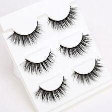3 Pair 3D Natural Bushy Cross False Eyelashes Mink Hair Eye Lashes Black Utility