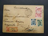 Latvia: Liban 1919 03/02 Registered Label Cover to Germany, 4 Imperforate Stamps