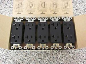 10 x New Leviton 16352-E 20A-125V 2P 3W Decora Black Duplex Receptacle Outlets