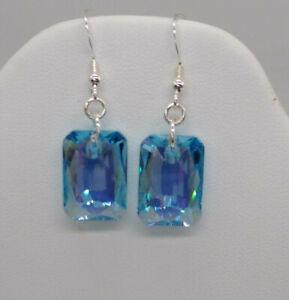 Sterling Silver Swarovski Crystal Aqua Shimmer Emerald Cut Earrings; Leverback