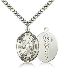 St Luke w/Doctor Symbol Sterling Silver Patron Saint Medal Necklace by Bliss Mgf