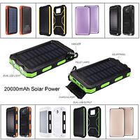 20000mAh Dual USB External Solar Panel Battery Charger Power Bank For Phone