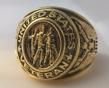 G-Filled Mens 18k yellow gold Gent's United States Army Veterans ring bald Eagle