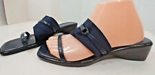 Naturalizer Italy Navy BLUE Fabric Slip On Slide Wedge Sandals Shoes Womens 8M