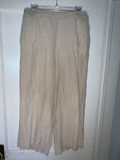 CP Shades Linen Beige Elastic Waist Ankle Pants with pockets size M.   A832