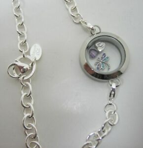 """Origami Owl Round Twist Locket Over the Heart 30"""" Chain & 3 Charms"""