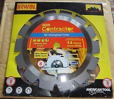 "IRWIN CONTRACTOR CIRCULAR SAW BLADE T8 184mm 71/4"" DIAMETER 14 TEETH 16mm BORE"