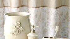 $60 Croft & Barrow Belle Fabric Shower Curtain Embroidery Tan Beige White Floral