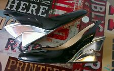 Christian Louboutin black patent courts wedges with sculpted heels 38 UK 5