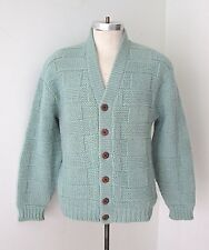 VGC Vtg 60s Rat Pack Mottled Blue Basket Weave Lambswool Cardigan Sweater M to L