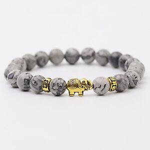 Fashion 8mm Natural Stone Gold Plated Elephant Men Reiki Beaded Elastic Bracelet