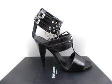 Saint Laurent YSL Fetish 105 Cuff Chain Buckle Studded Sandals Black 35.5 5.5