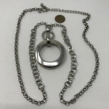 CHICO'S Pendant Necklace Silver Tone Open Circle Geometric Long Chain