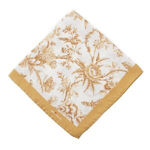 Kiton Napoli Golden Yellow Victorian Floral Print Silk Pocket Square