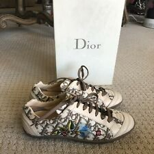 Authentic Dior Women Sport Logo Embroidered Floral SNEAKER Beige Leather