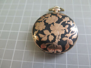 Pocket Watch French Sterling Silver Niello & 9kt Gold Antique Lohengrin Art Nou