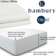 Bambury 100% cotton 250 Thread Count 'Tru Fit' Fitted Sheet KING Bed in White