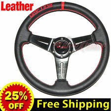 "350mm 14"" LEATHER Drift Racing Rally Steering Wheel RED Stitch Universal BLACK"