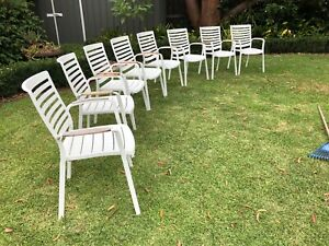 8 Freedom Adelphi white outdoor dining chairs. RRP $1800. Great condition.
