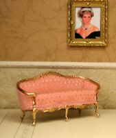 """Duville Gilt Pink Gold Couch MUSEUM QUALITY DOLLHOUSE FURNITURE 1:12 / 1"""" BESPAQ"""