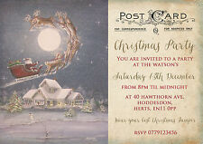 PERSONALISED VINTAGE CHRISTMAS PARTY INVITATIONS PACKS OF 10
