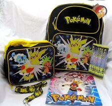 "Pokemon Pikachu 16"" Backpack,lunchbox,Pokemon Pencils,Pokemon Lanyard, & Folder2"
