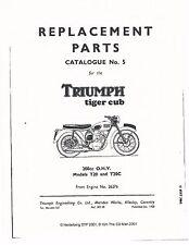 Triumph Parts Manual Book 1957 Tiger Cub T20 & T20C